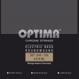 Optima Optima Strings For Electric Bass Chrome Strings Round Wound Long Scale Set 4-string med-light